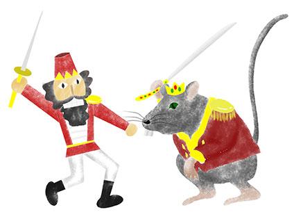 くるみ割り人形とハツカネズミが戦っているところ