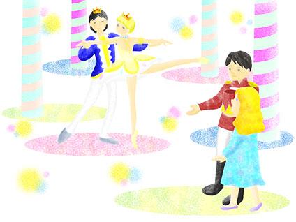 金平糖の精が踊っているところをクララと王子が見ている。