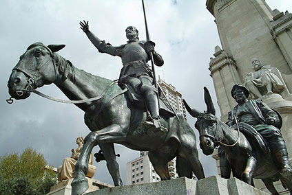 馬にまたがり旅をしているドン・キホーテとサンチョ・パンサ