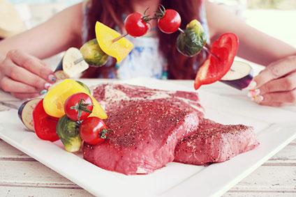 皿に盛られた焼く前の牛肉と野菜