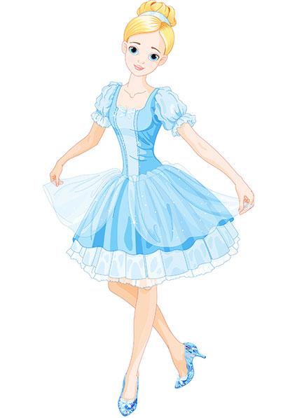 青いドレスとガラスの靴を身にまとったシンデレラ