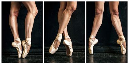 バレリーナの脚3ポーズ