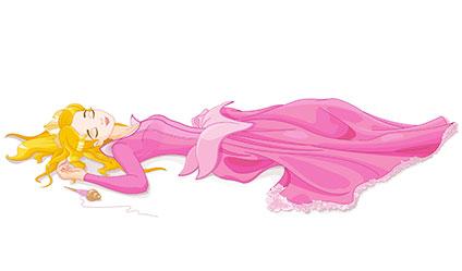 糸車の針に指を指して倒れてしまったオーロラ姫