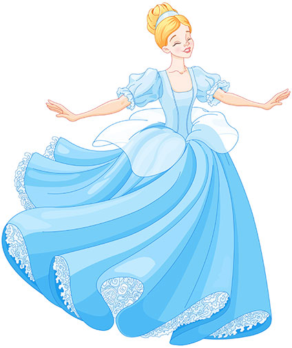 青いドレスを着てはしゃぐシンデレラ