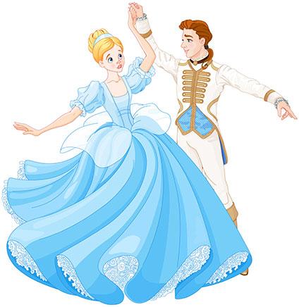 王子とワルツを踊るシンデレラ