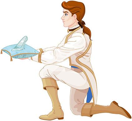 ガラスの靴を差し出す王子
