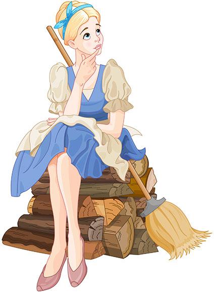 ホウキを持って薪の上に座り込む悩ましげなシンデレラ