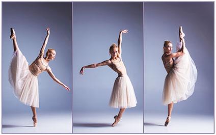 踊っているバレリーナ3ポーズ