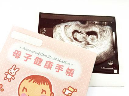 母子手帳と赤ちゃんのエコー画像